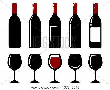 isolated wine bottle and glass icon set on white background
