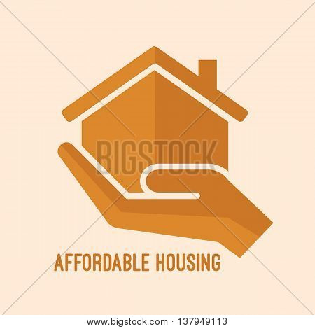 Affordable housing icon. House in hand vector illustration.