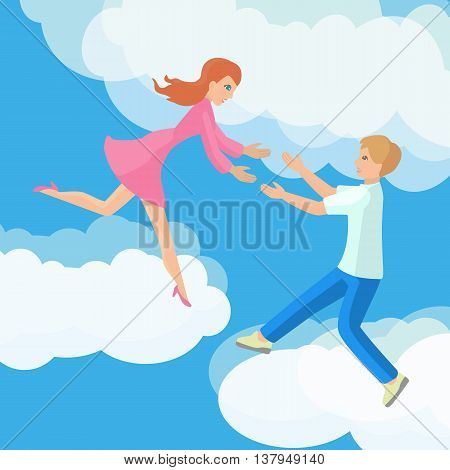 Affection Young couple on clouds vector flat illustration.