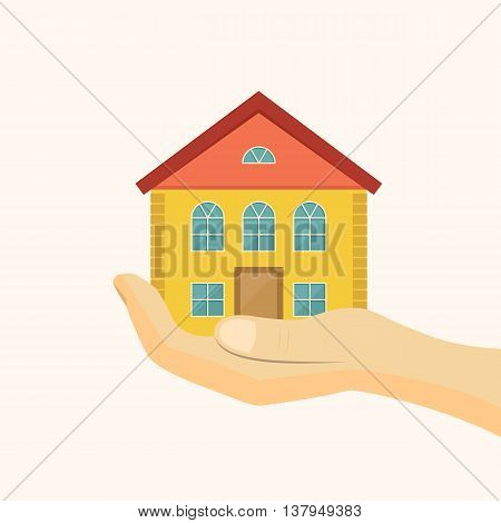 Affordable housing icon. House in hand vector illustration. Flat style vector illustration.