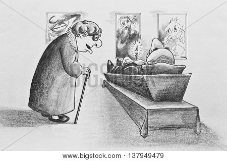 Caricature drawn with a pencil. The funeral of artist