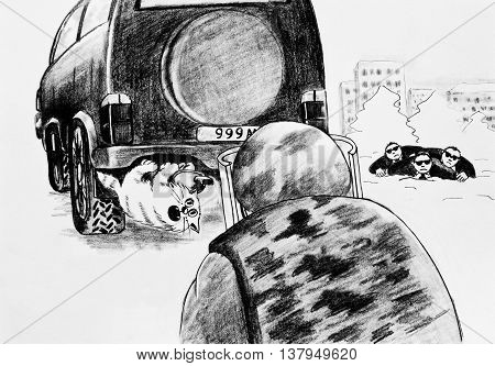 Caricature, pencil drawing. The cat is under the car, mistaken for a bomb