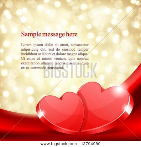 Two hearts on silk with light Valentine's day vector background