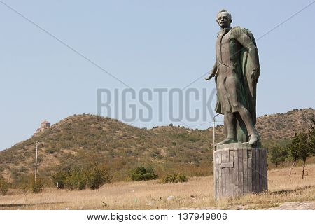 TBILISI, GEORGIA - August 17: Monument to the famous Russian poet Lermontov . The monument is located at the confluence of the Mtkvari and Aragvi rivers near Tbilisi, Georgia