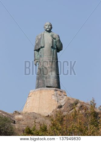 GEORGIA - August 17, 2013:The monument to the outstanding Georgian public figure and writer Ilia Chavchavadze in Saguramo, near Tbilisi