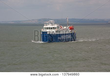 RUSSIA, PORT-CAUCASUS JUNE 11, 2014: Car ferry service between Krasnodar region and the Crimea