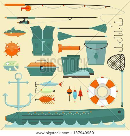 Big set of fishing elements. Flat design. Fishing hooks, rod, boat, anchor and other. Vector Illustration.