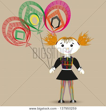 Vector illustration of a rag doll, and three balloon Drawing on a beige background of a rag doll in a black dress with red hair, and three color balloon