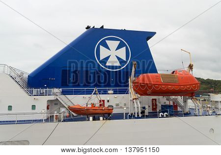 DOVER ENGLAND - OCTOBER 24 2015: DFDS Seaways ferry boat ready for departure in the Dover harbor