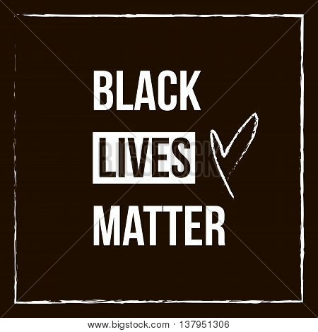 Black lives matter lettering card on dark background.
