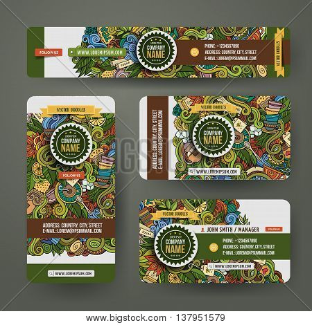 Corporate Identity vector templates set design with doodles hand drawn tea theme. Colorful banner, id cards, flayer design. Templates set