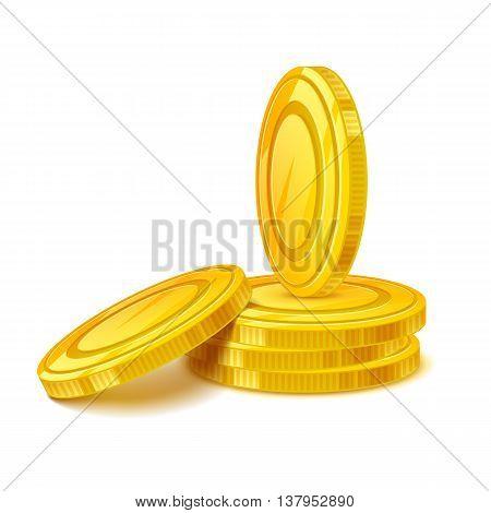 Coins stack vector illustration. Golden money cash. Wealth finance earning income symbol.