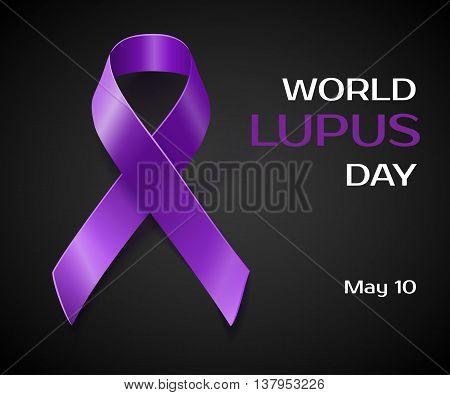 Purple Lupus Awareness Ribbon Isolated On Black