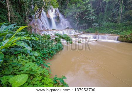 Flash Flood In Waterfall At Tat Kuang Si Luang Prabang, Laos