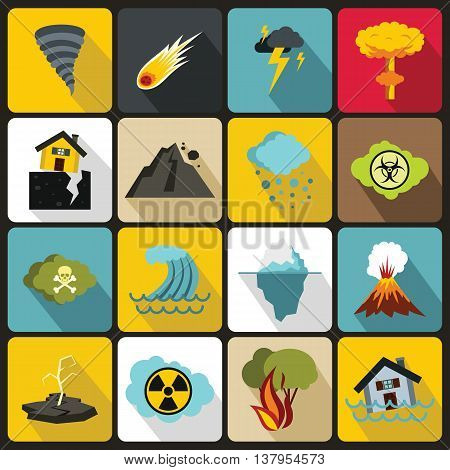 Natural disaster icons set in flat ctyle. Catastrophe and crisis set collection vector illustration