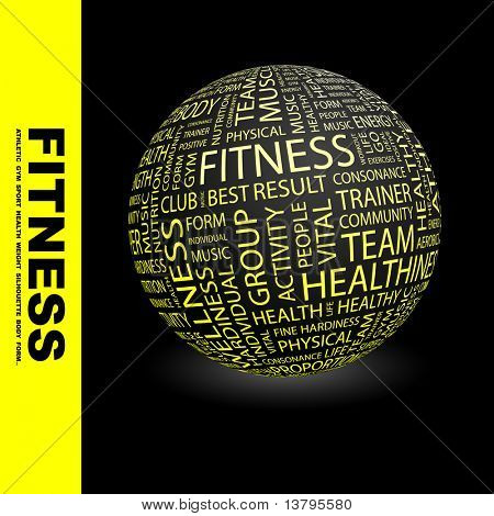 FITNESS. Globe with different association terms.