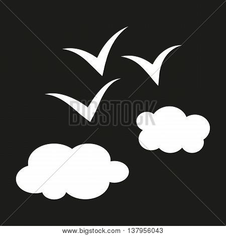 Simple schematic illustration of birds flying above the clouds. The white color on a black background. Abstract sketch.