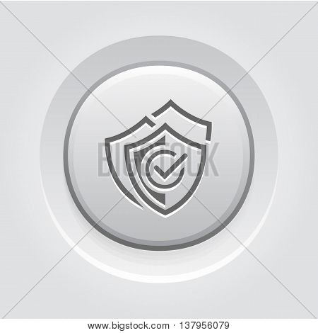 Multilevel Security Icon. Flat Design App Symbol or UI element. Three Shields with a checkmark. Grey Button Design