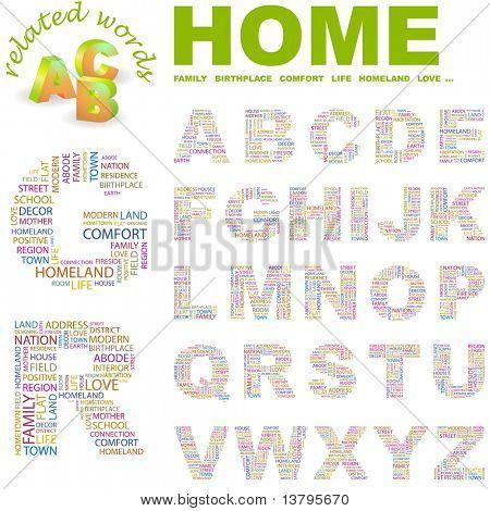 STARTSEITE. Alphabet für Design. Abbildung mit verschiedenen Verband Bedingungen.