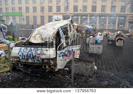 KIEV, UKRAINE - FEB 10, 2014: Downtown of Kiev.Destruction and vandalism. Riot in Kiev.February 10, 2014 Kiev, Ukraine