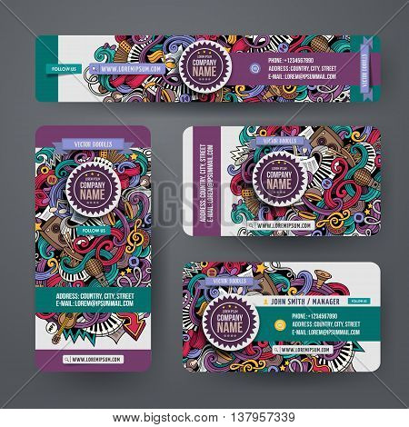 Corporate Identity vector templates set design with doodles hand drawn musical theme. Colorful banner, id cards, flayer design. Templates set