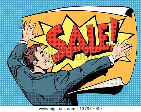 Retro man unfolds a poster sale pop art vector, realistic hand drawn illustration.