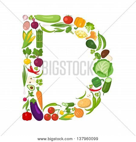 D letter from vegetables. Green alphabet. Fresh green vegetables for healthcare. Healthy diet concept.All vegetables like carrot, onion, tomato, pepper, cucumber, cabbage.