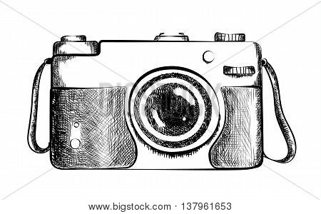 Drawn retro camera. Drawing of black and white vintage camera with lens. Old fashioned design. Camera closeup. Professional equipment or hobby photographer.
