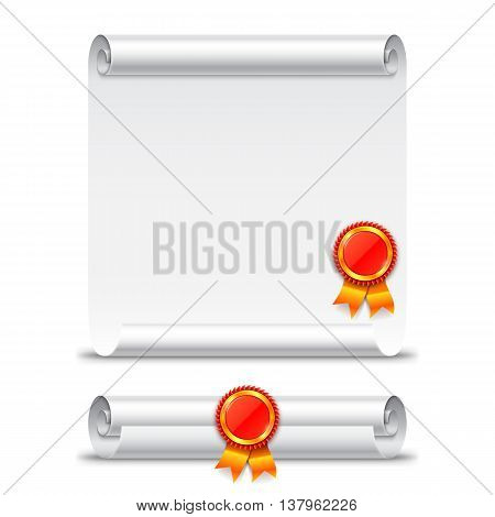 Rolled and unrolled diploma paper scroll with stamp. Vector education icon isolated on white background