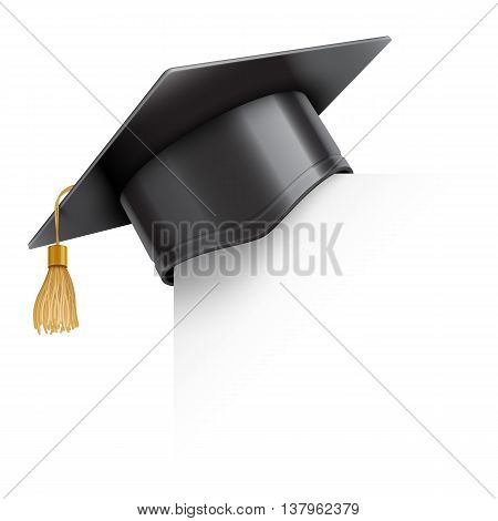 Graduation cap or mortar board on paper corner. Vector education design element isolated on white background