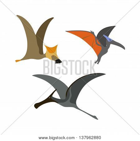 Funny cute pterodactyl dinosaur educational game characters for kids. Prehistoric flying reptile pterodactyl dinosaur vector. Dangerous pterodactyl dinosaur jurassic extinct cartoon monster.