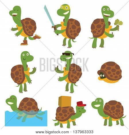 Cute cartoon turtles vector illustration. Exotic deep cartoon turtles character happy green fun reptile. Tropical terrapin nature cartoon turtles marine set. Natural underwater comic animal icon.
