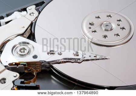 close up inside of hard disk drive