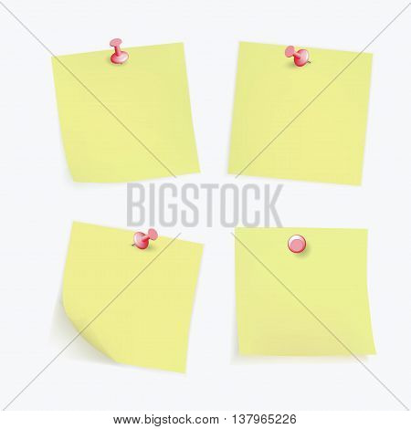 Collection of various yellow note papers with curled corner, pinned red pushbutton, ready for your message. Vector illustration. Isolated on white background. Front view. Top view. Vector EPS10