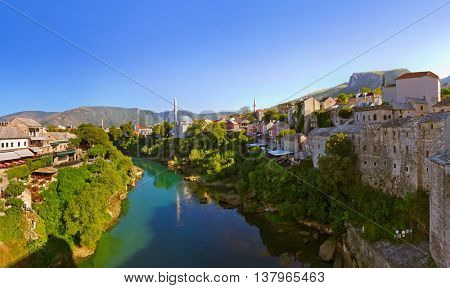 Cityscape of Mostar - Bosnia and Herzegovina - architecture travel background