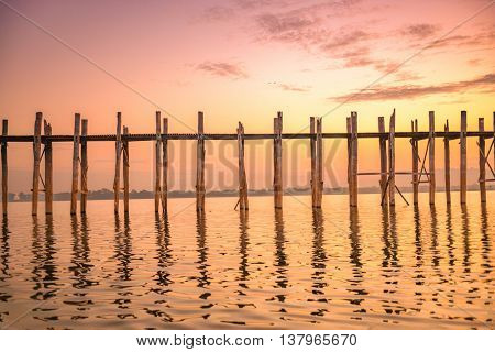 U-Bein Bridge in Mandalay, Myanmar.