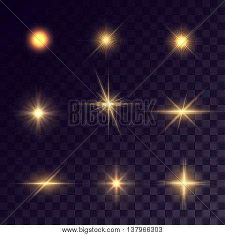 Vector starlights effects. Golden flashes on transparent background. Release clipping mask for work.