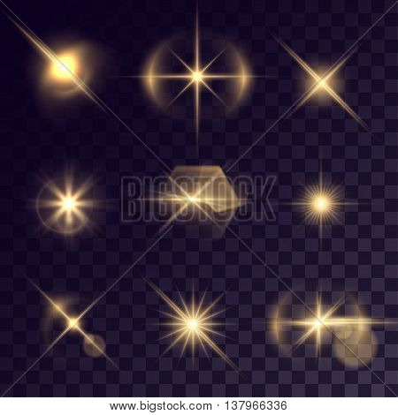 Vector starlights effects. Set of golden flashes on transparent background. Release clipping mask for work.