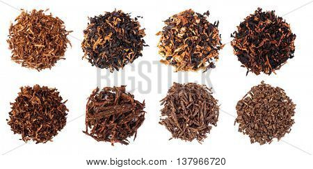 set dried smoking tobacco. Isolated on a white background.