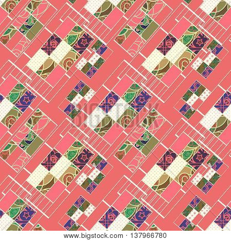Geometric abstract elements seamless pattern coral retro colors print background