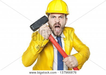 Angry Investor With A Big Hammer In His Hands