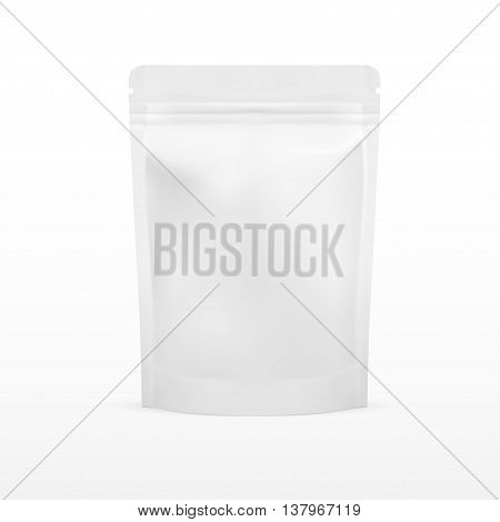 White Blank Foil Food Doy Pack Stand Up Pouch Bag Packaging With Zipper. Illustration Isolated On White Background. Mock Up, Mockup Template Ready For Your Design. Vector EPS10