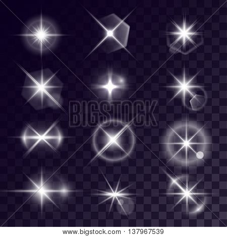 Vector starlights effects. Set of white flares on transparent background. Release clipping mask for work.