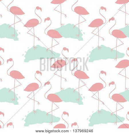 Flamingos Seamless Pattern.