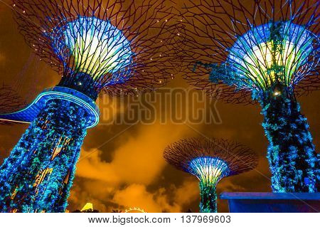 SINGAPORE - August 10 2014: Supertrees at Gardens by the Bay. The tree-like structures are fitted with environmental technologies that mimic the ecological function of trees.