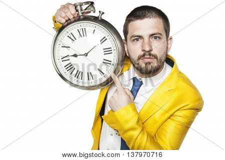 Serious Expression Businessman Suggests That It Is Late