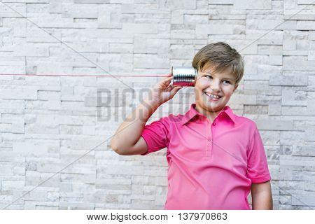 Little Boy Tin Can Phone Concept