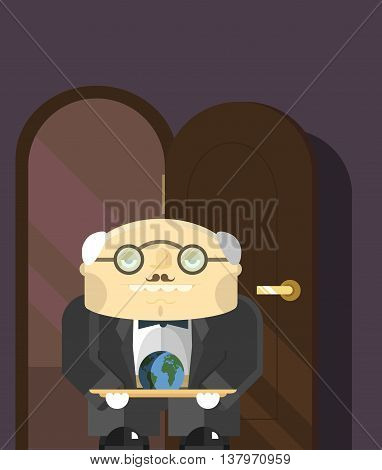 old butler standing in the doorway with a tray on which lies the land of the planets