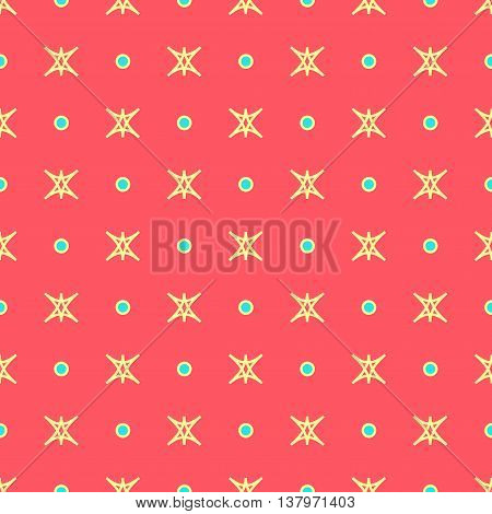 Star and polka dot geometric seamless pattern. Fashion graphic background design. Modern stylish abstract texture. Colorful template 4 prints textiles wrapping wallpaper website VECTOR ilustration