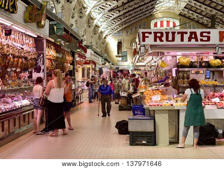 VALENCIA, SPAIN - JUNE 21: Interior view of the Mercado Central on June 21, 2016 in Valencia, Spain. This building built in modern art nouveau style is the seat of the main public market in the city